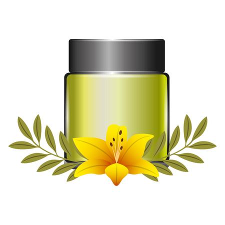 cosmetics skincare empty plastic package flowers essence vector illustration
