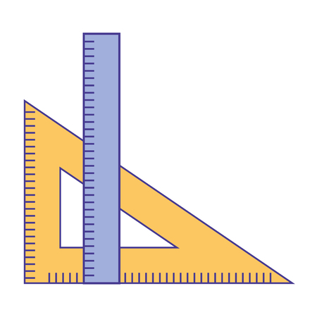 ruler and setsquare geometry object vector illustration