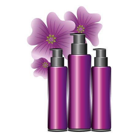 cosmetic plastic bottles liquid gel lotion flowers essence vector illustration
