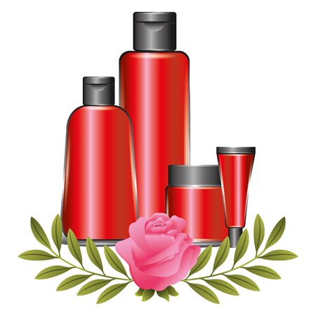 package beauty cream bottles treatment cosmetic flowers essence vector illustration