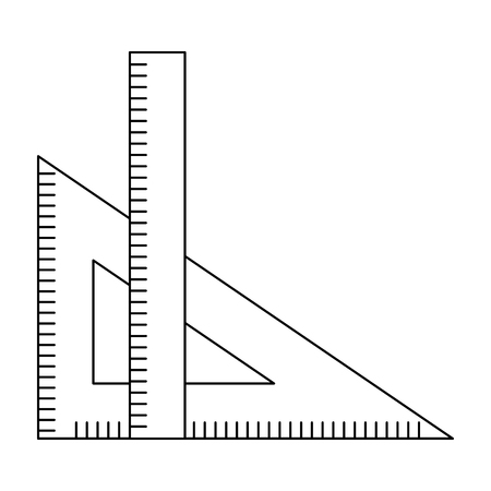 ruler and setsquare geometry object vector illustration thin line Çizim