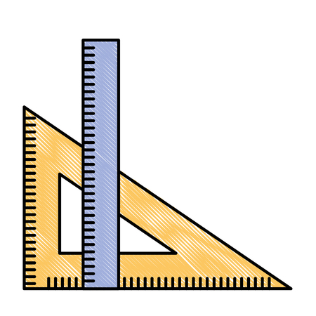 ruler and setsquare geometry object vector illustration drawing