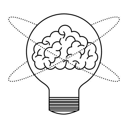 human brain in bulb light creativity vector illustration thin line