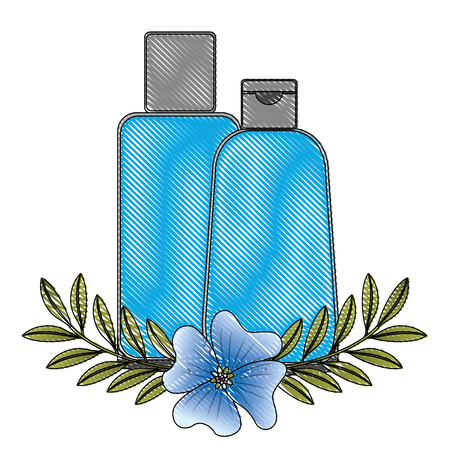 shampoo bottle body care product flowers essence vector illustration drawing