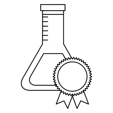 school laboratory test tube medal winner vector illustration thin line