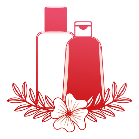 shampoo bottle body care product flowers essence vector illustration red design