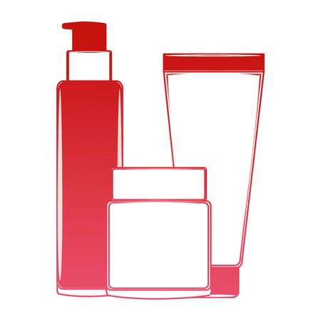 package beauty cream bottles treatment cosmetic vector illustration red design