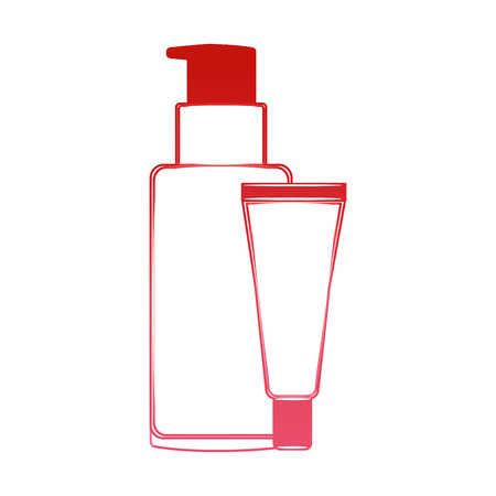 body care professional cosmetic tube cream soap packaging vector illustration red design Illustration