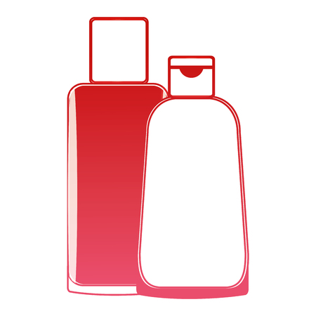 shampoo bottle body care product vector illustration red design