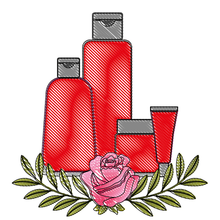 package beauty cream bottles treatment cosmetic flowers essence vector illustration drawing