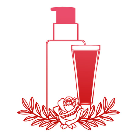 body care professional cosmetic tube cream packaging flowers essence vector illustration red design Illustration