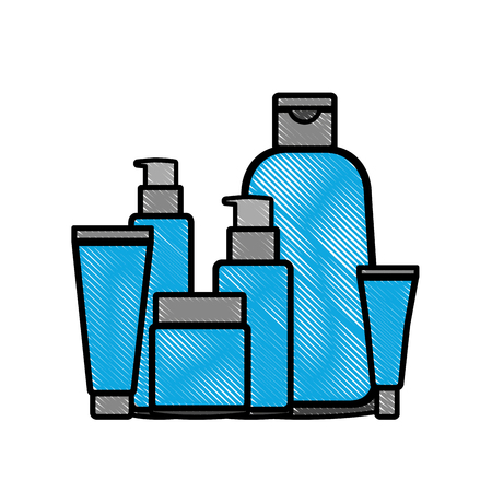 set of cosmetic packages template of plastic containers bottles tubes vector illustration drawing