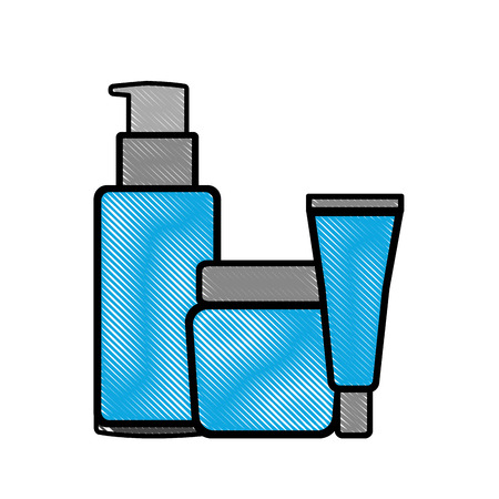 package beauty cream bottles treatment cosmetic vector illustration drawing
