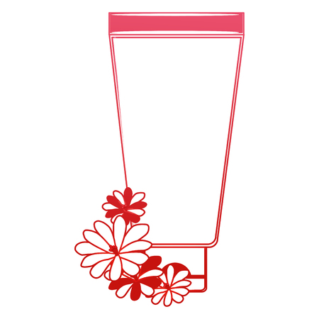 cream or lotion cosmetic tube for skin care product flowers essence vector illustration red design