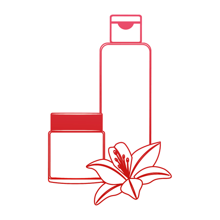 cosmetics skincare empty plastic package flowers essence vector illustration red design