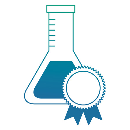 school laboratory test tube medal winner vector illustration degraded color