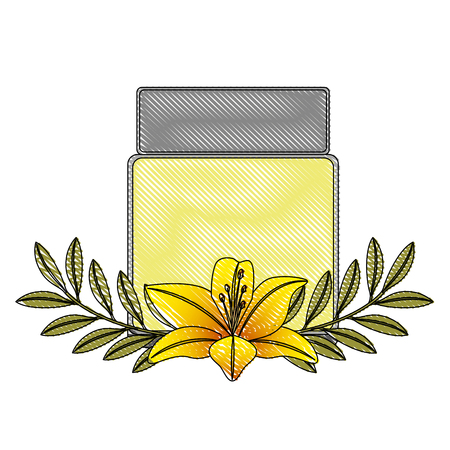 cosmetics skincare empty plastic package flowers essence vector illustration drawing