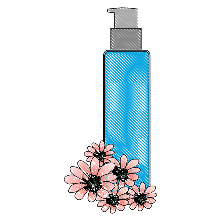 cosmetic bottle sprayer container dispenser flowers essence vector illustration drawing