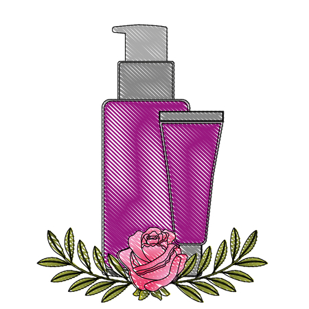 body care professional cosmetic tube cream packaging flowers essence vector illustration drawing Illustration