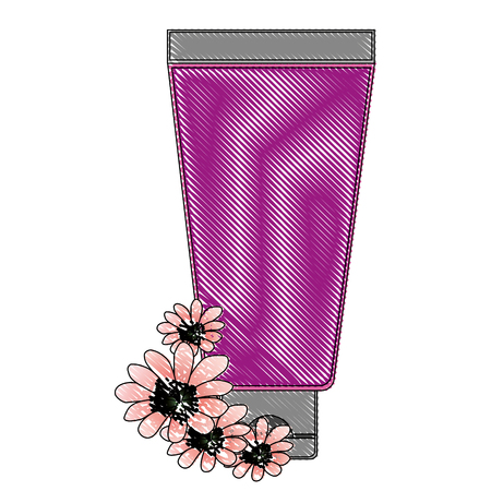 cream or lotion cosmetic tube for skin care product flowers essence vector illustration drawing