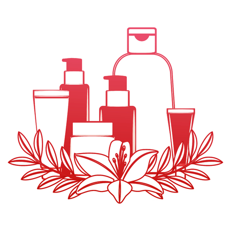 set of cosmetic packages template of plastic containers bottles tubes flowers essence vector illustration red design Çizim