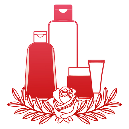 package beauty cream bottles treatment cosmetic flowers essence vector illustration red design