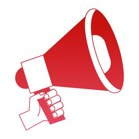 hand holds marketing megaphone advertising vector illustration red design Stock Vector - 100996571