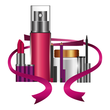 splash with accessories and ribbon female make up vector illustration design
