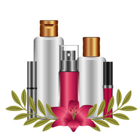 accessories with flower female make up vector illustration design