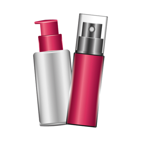 bottle of splash with bottle of cream female make up vector illustration design