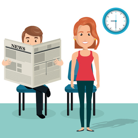 young couple in the waiting room avatars characters vector illustration design