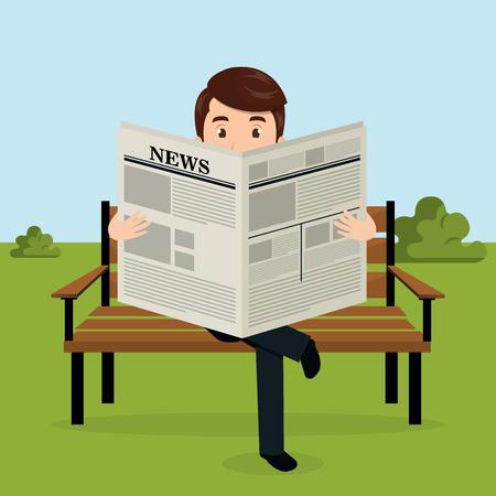 homme d & # 39; affaires lisant le journal dans l & # 39; illustration vectorielle de parc avatar caractère Vecteurs
