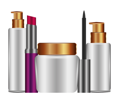 bottles of cream and accessories female make up vector illustration design Illusztráció