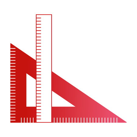 ruler and setsquare geometry object vector illustration red design