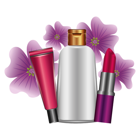bottles of creams and lip with flowers female make up vector illustration design