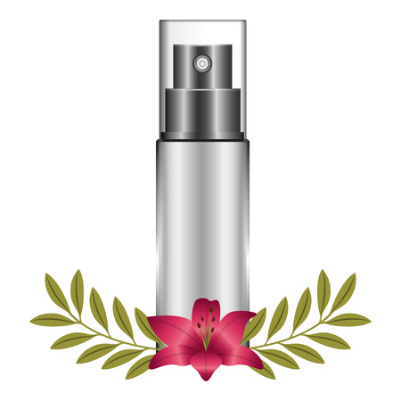 bottle of splash with flower female make up vector illustration design