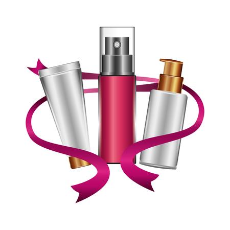 bottle of splash and bottles of creams with ribbon female make up vector illustration design