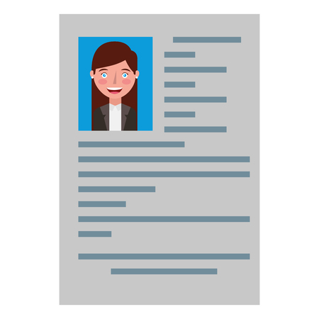 curriculum vitae with photo of woman isolated icon vector illustration design