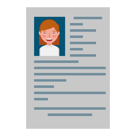 curriculum vitae with photo of woman isolated icon vector illustration design 写真素材 - 100996547
