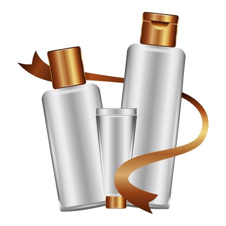 bottles of cream with ribbon female make up vector illustration design