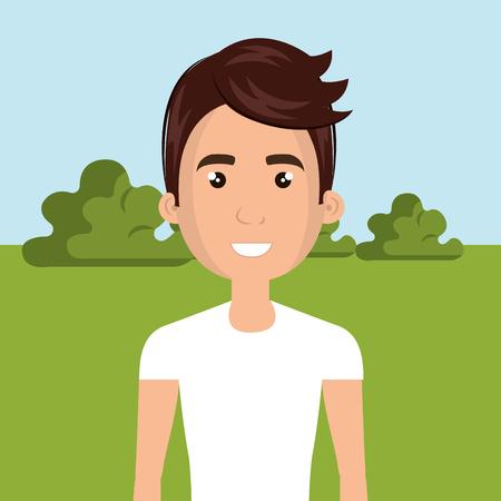 young man in the field character scene vector illustration design Foto de archivo - 100996605