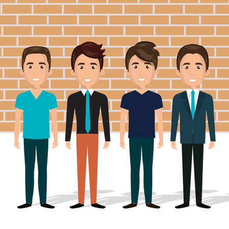 young men in the wall characters scene vector illustration design