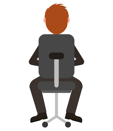 elegant businessman with chair office vector illustration design Stock Illustratie