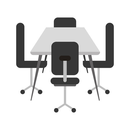office chairs with desk isolated icon vector illustration design