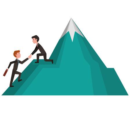 elegants businessmen going up in mountain vector illustration design