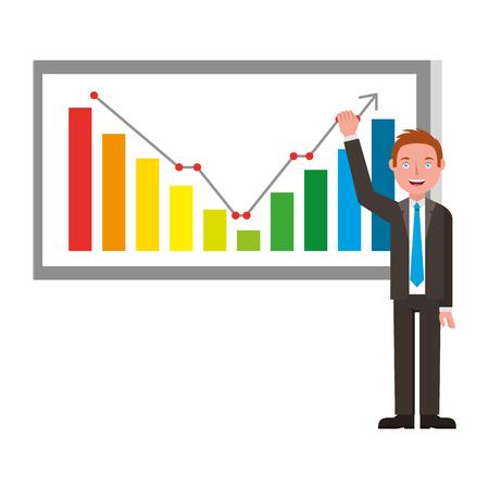elegant businessman and board with statistics vector illustration design