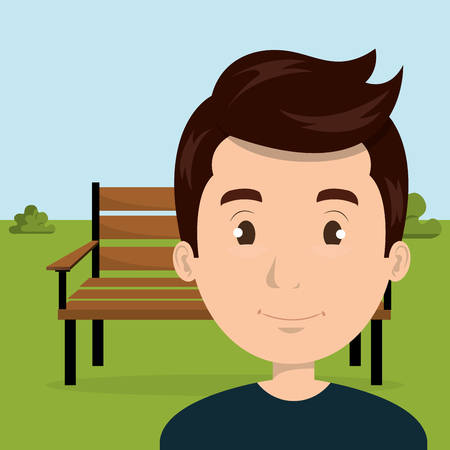 young man in the park character scene vector illustration design Illustration
