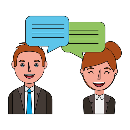 woman and man with dialog speech bubbles vector illustration