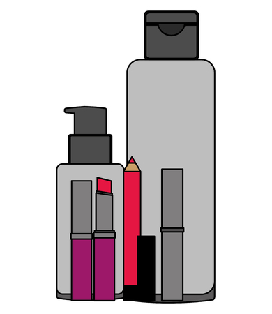 cosmetic makeup products fashion trendy vector illustration