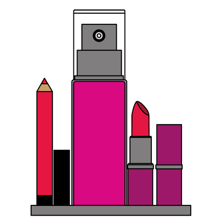 cosmetic makeup products spray bottle eyeliner and lipstick vector illustration